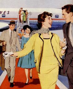 Happy Travelers, detail from 1958 American Airlines ad.