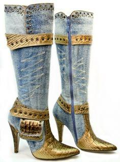 #studdedboots  -Botas altas vaqueras con tachas  -Denim boots with studs