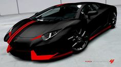 Lamborghini Aventador LP700-4-- Matte black and red! Oh my goodness.
