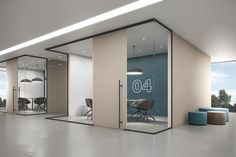 LIGNEA interior glass wall systems seamlessly and stylishly combine glass partitions with elegant sliding wood doors. Corporate Office Design, Office Space Design, Modern Office Design, Office Interior Design, Office Interiors, Office Ceiling Design, Cabin Interiors, Office Workspace, Office Walls
