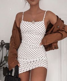 poka dot dress spring fashion trendy fashion fashion inspo brown jacket mini skirt white mini skirt trendy outfit - Mini Skirts - Ideas of Mini Skirts Cute Casual Outfits, Casual Dresses, Summer Outfits, Girly Outfits, Mini Skirt Outfits, Easy Outfits, Paris Outfits, Classic Outfits, White Outfits
