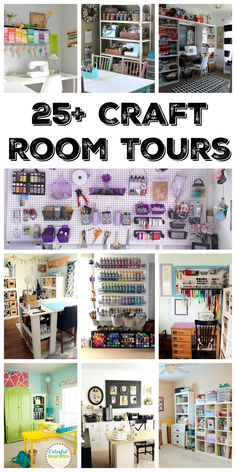 Organized Craft Rooms Over 25 amazing craft room tours! Get inspired to create your own craft studio with these organized craft rooms!Over 25 amazing craft room tours! Get inspired to create your own craft studio with these organized craft rooms! Craft Room Storage, Craft Room Decor, Craft Room Design, Sewing Room Organization, Organization Ideas, Paper Storage, Organizing Tips, Scrapbook Organization, Craft Room Organizing