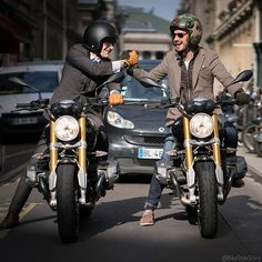 If you are a biker, you understand.  Julius and @MarcyDeSoultrait wearing @VicomteA on a @BMWMotorrad_France #RnineT #✌️
