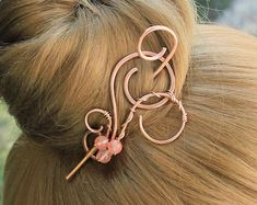 Copper Hair Clip Hair Stick, Small Hair Barrette Metal Hair Pin, Hammered Hair Slide, Wire Wrapped Hair Jewelry, Women Gift For Friends Copper Hair, Gold Hair, Silver Hair, Copper Jewelry, Hair Jewelry, Bead Jewellery, Jewlery, Bohemian Jewelry, U Shaped Hair