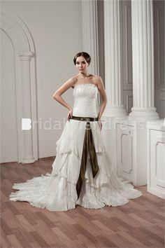 A-Line Strapless Summer Court Train Satin Taffeta Reception Wedding Dresses