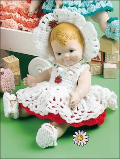 "Becky -Fits 12"" doll. Crocheted using WW yarn. Skill Level: Intermediate…"