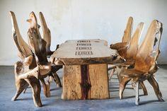 Slab dining or conference table, Tamarind wood. Teak root chair.  Indonesia, Bali. Стол из массива дерева тамаринд. Стлья из корней тикового дерева. Комплект для столовой / офиса / бани: стол и 6 стульев Материал: стол - слэб дерева тамаринд, стулья - корень дерева тик.