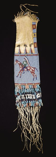 Sioux pictorial beaded and fringed hide tobacco bag composed of finely tanned hide decorated with yellow ochre, finely sinew-sewn in numerous colors of glass beadwork against a light blue ground, with equestrian figures on both sides,
