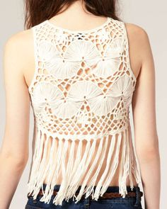 Hairpin Crochet Cropped Fringed Vest. Front: http://images.asos-media.com/inv/media/7/5/1/1/1451157/cream/image1xxl.jpg Detail: http://images.asos-media.com/inv/media/7/5/1/1/1451157/image3xxl.jpg