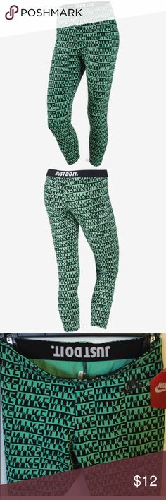 """Nike Logo Leggings Nike Logo Leggings  Brand new  50% cotton & spandex& polyester """"Just do it"""" saying at waist  Nike logo all over leggings Nike Pants Leggings"""