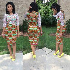 #kente #bernan mixed fabric dress with lace detailing!