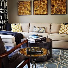 Stylish mix of patterns and textures in this living room by Lugbill Designs. Surya Goa rug underfoot adds a nice finishing touch.
