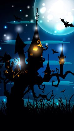 By Artist Unknown. Halloween Poster, Halloween Painting, Halloween Pictures, Halloween 2019, Holidays Halloween, Spooky Halloween, Halloween Themes, Vintage Halloween, Halloween Pumpkins
