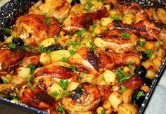 Tepsis csirkecomb zöldségekkel Beef Recipes, Chicken Recipes, Cooking Recipes, Healthy Recipes, Good Food, Yummy Food, Hungarian Recipes, Hungarian Food, Low Calorie Recipes