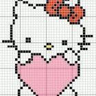 Hello Kitty con cuore in questo schema a punto croce