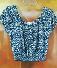 NEW MINE ANTHROPOLOGIE IKAT GEOMETRIC NATIVE CROPPED BOHO TOP LACE UP M / L BLUE #MINE #Blouse #Casual