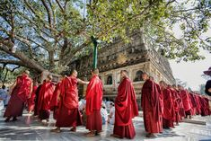 In many Buddhist traditions, practitioners walk in a circle around a sacred object as a practice of devotion, purification, and mindfulness. Buddhism For Beginners, Buddhist Traditions, Mindfulness, Traditional, Dresses, Fashion, Vestidos, Moda, Fashion Styles