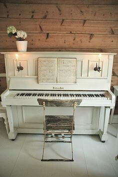 My white piano :) I've been waiting to find a photo of one I loved to give me courage to paint mine!! Love!