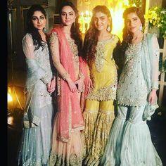 from - to when these beautiful girls wore IVY Formals! OrderToday by lalgulabi Pakistani Wedding Outfits, Pakistani Bridal, Pakistani Dresses, Sharara Designs, Stylish Dresses For Girls, Stylish Dress Designs, Indian Bridesmaid Dresses, Bridal Dresses, Weeding Dresses