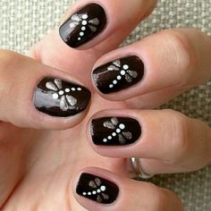black nail art designs for 2016 - Diy Nail Designs Get Nails, Fancy Nails, Pretty Nails, Hair And Nails, Nail Art Designs 2016, Nail Polish Designs, Black Nail Art, Black Nails, Dragonfly Nail Art