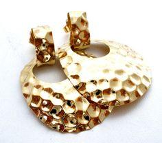 14K Gold Earrings Hammered  Door Knockers by TheJewelryLadysStore