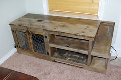 Reclaimed Rustics: Barn Wood Entertainment Center with chicken wire doors