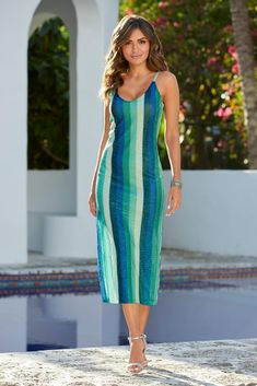 Sequin-Striped Midi Dress Cap Dress, Lace Sheath Dress, Striped Midi Dress, Boston Proper, Kimono Fashion, Blue Lace, Flare Dress, Fit And Flare, Dress Outfits