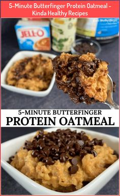 5-Minute Butterfinger Protein Oatmeal - Kinda Healthy Recipes #5Minute #butterfinger #healthy #kinda #minute #oatmeal #protein #recipes Oats Recipes, Brownie Recipes, Healthy Recipes, Protein Recipes, Vegetarian Recipes, Recipies, Good Protein Snacks, Protein Pancakes, Healthy Protein