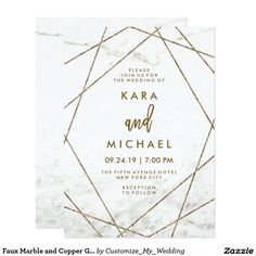 Faux Marble and Copper Geometric Wedding Invite