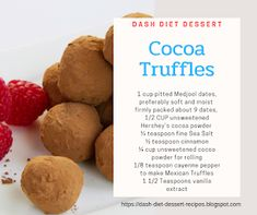 Cocoa Truffles Sweet, nutrient-dense dates take the place of sugar, while dark cocoa is rich in flavonoids (antioxidant compounds that h. Low Sodium Desserts, Diet Desserts, Dessert Recipes, Dash Diet Recipes, Unsweetened Cocoa, Cholesterol, Truffles, A Food, Food Processor Recipes