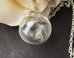 Real Dandelion Seeds Necklace, Handblown Glass, Glass Orb, Nature, Botanical