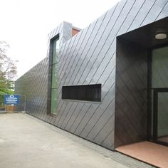 Sports Hall of the primary School, Oppenheim, Germany with copper shingle cladding.