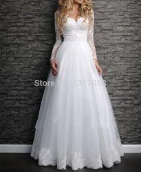 Online Shop 2015 New Arrival Modest Wedding Dress Long Sleeve Plus Size Destination Bridal Gowns Lace Wedding Dresses Long Sleeve |Aliexpress Mobile