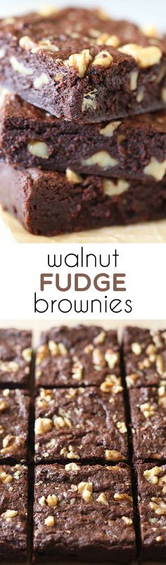 Our new GO-TO brownie recipe!! So much better than box mix brownies, but practically as easy! Walnut Fudge Brownies.