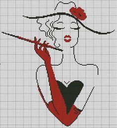 free cross stitch chart looks like cruella Cross Stitching, Cross Stitch Embroidery, Embroidery Patterns, Hand Embroidery, Cross Stitch Charts, Cross Stitch Designs, Cross Stitch Patterns, Cross Stitch Silhouette, Tapestry Crochet