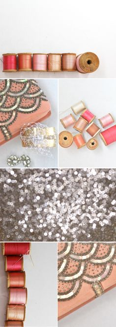 DIY sequined clutch. I'd like to think I can/could make this but then realize, no, I probably can't :T