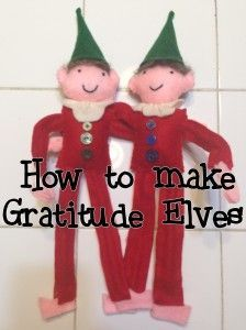 How to make gratitude elves - an alternative to Elf on a Shelf and using gratitude, love and kindness as a means of celebrating the season. Bendable elves make with felt, pipe cleaners and stuffing. Super easy, pattern included!