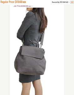 ON SALE Grey leather shoulder bag purse   Crossbody by BarLeather