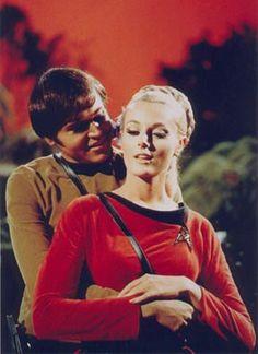 "Ensign Chekov (Walter Koenig) and Yeoman Martha Landon (Celeste Yarnall) - Star Trek: The Original Series S02E05: ""The Apple"" (First Broadcast: October 13, 1967)"