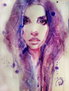 Watercolor painting by Poplavskaya. #RadiantOrchid