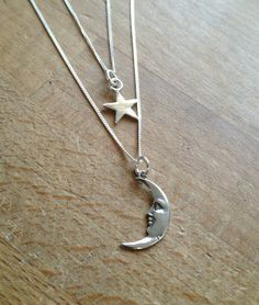 Sterling Silver Moon and Star 2 Layer Necklaces by PABJewellery £35