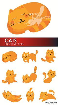 Оранжевые веселые коты - вектор   Orange vector cats