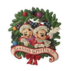 'Season's Greetings' - Mickey Mouse & Minnie Mouse wreath from our Jim Shore Disney Traditions collection Hades Disney, Peanuts Christmas, Mickey Christmas, Disney Figurines, Christmas Figurines, Disney Statues, Disney Christmas Decorations, Diy Halloween Decorations, Mickey Minnie Mouse