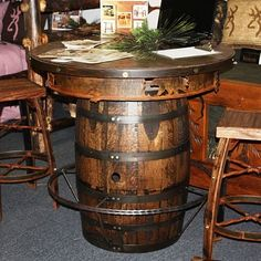 Rustic Western Living Rooms | Finish a Man Room With a Rustic Pub Table - Rustic Decor Living