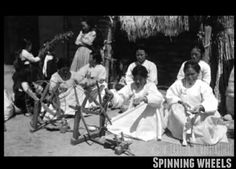 'Spinning wheels(물레질)' in the 1910's photo by Father Norbert Weber(1870-1956, German cultural anthropologist)