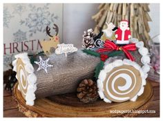 Christmas Yuletide Log Cake Gift Box using SVG Cuts files. Silhouette Cameo Files, Log Cake, Gift Cake, Christmas Projects, Svg Cuts, Gingerbread, Embellishments, Merry, Paper Crafts