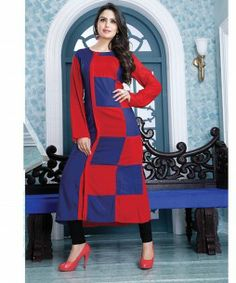 9009 AYESHA EYE-CATCHING RED & BLUE DESIGNER COTTON LONG KURTI CFAK9009 MRP Rs. 1200.00 INR Cash on Delivery and Shipping available. Click on image to buy from www.stylishbazaar.com