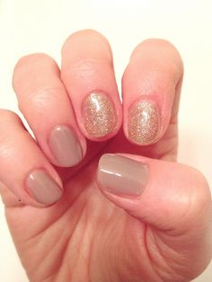 Taupe and Gold Glitter Holiday Accent Nails by Sensationail Gel Polish ❤️ @Emma Burke on Instagram (at)emmaflhair