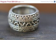 Mens Sterling Silver Ring Aztec Style Hand made by DonBiuBali