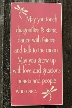 May You Touch Dragonflies Girl Bedroom Wood by RusticPineDesigns, $70.00